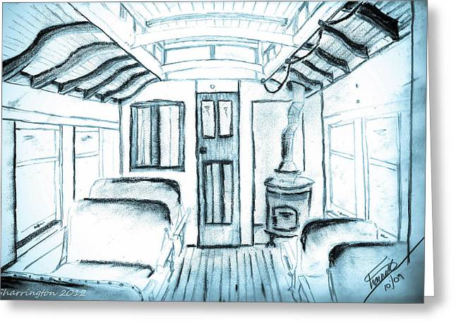 Greeting Card featuring the drawing Antique Passenger Car by Shannon Harrington