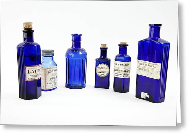 Antique Pharmacy Bottles Greeting Card by Gregory Davies, Medinet Photographics