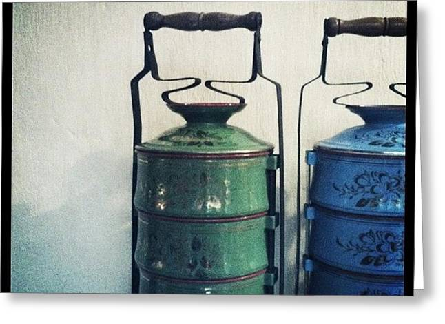 Antique Tiffin Carriers Greeting Card