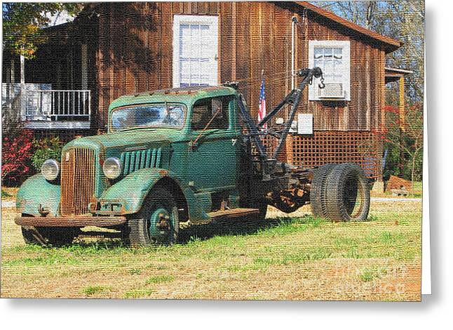 Antique Tow Truck Textured Greeting Card by Barbara Bowen