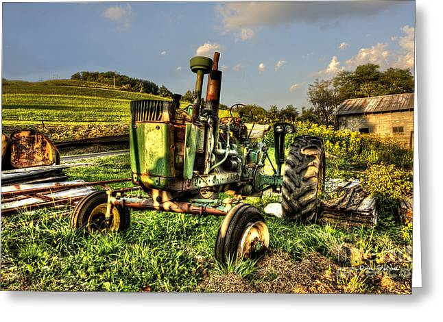 Antique Tractor Greeting Card by Dan Friend