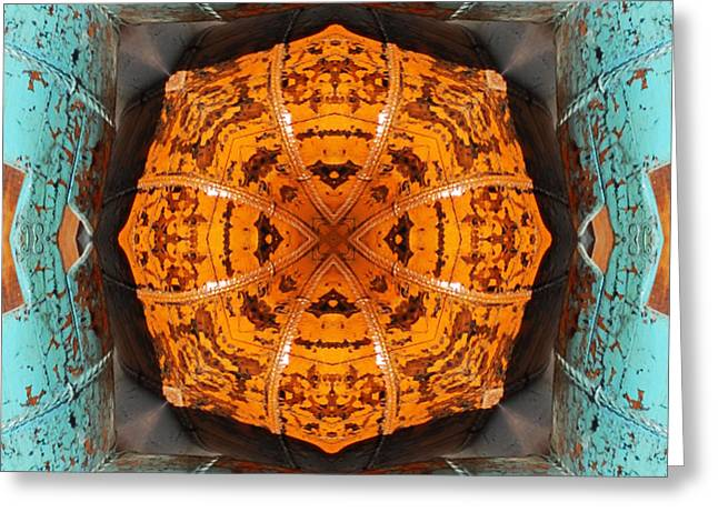 Greeting Card featuring the photograph Antique Wood Baskets Kaleidoscope by Barbara MacPhail