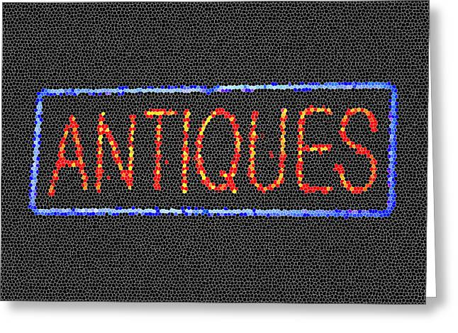 Antiques Mosiac Greeting Card by Melany Sarafis