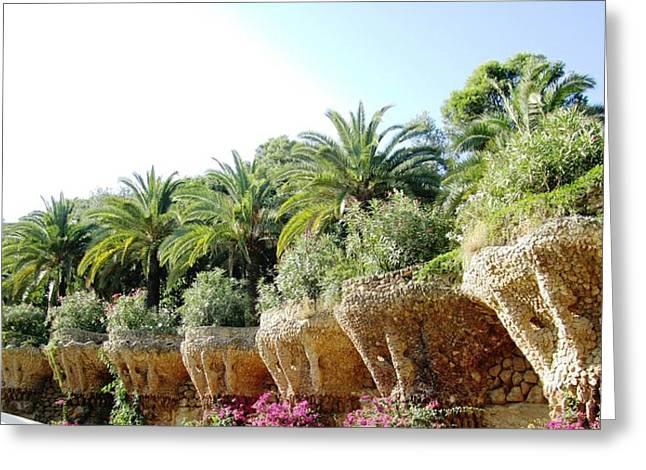 Antoni Gaudi Park Guell Plants Barcelona Spain Greeting Card by John Shiron