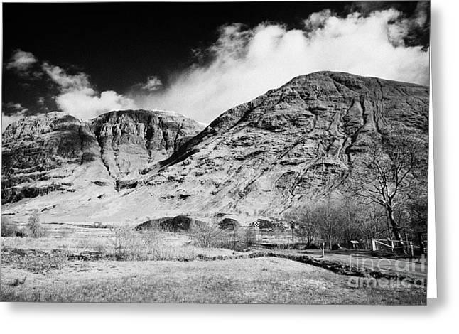 Aonach Dubh And An T-sron Mountains In Glencoe Highlands Scotland Uk Greeting Card