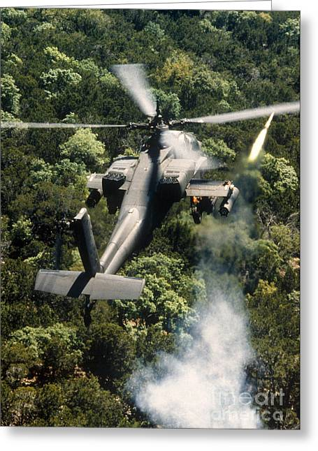 Apache Helicopter Firing Greeting Card