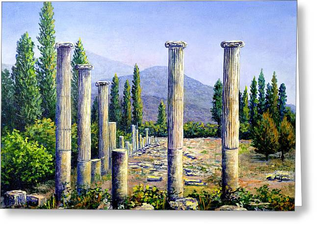 Greeting Card featuring the painting Aphrodesias Ruins by Lou Ann Bagnall
