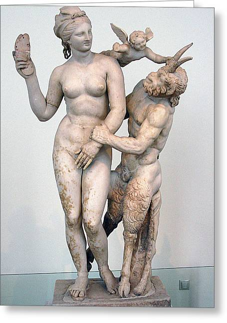 Aphrodite Pan And Eros Greeting Card by Andonis Katanos