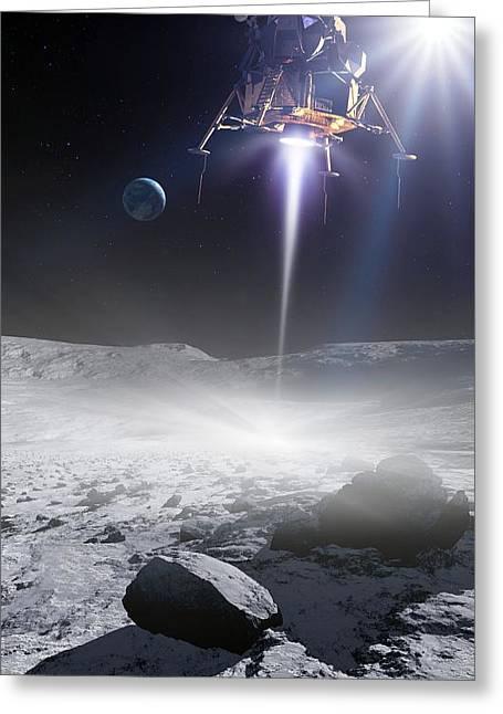 Apollo 11 Moon Landing, Artwork Greeting Card by Detlev Van Ravenswaay