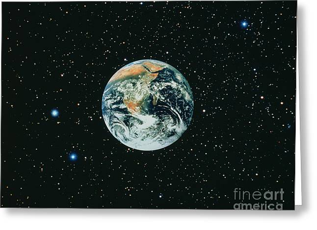 Apollo 17 View Of Earth With Starfield Greeting Card by NASA / Science Source