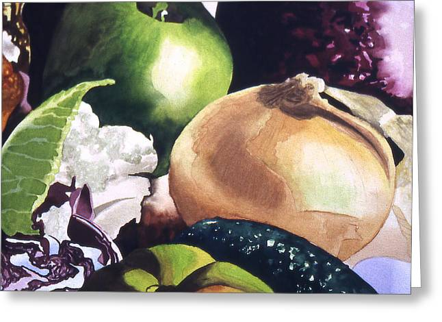 Apple And Onion Greeting Card by Eunice Olson