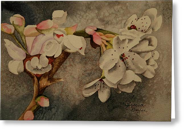 Greeting Card featuring the painting Apple Blossom by Teresa Beyer