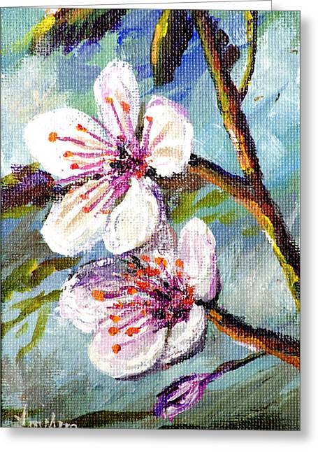 Greeting Card featuring the painting Apple Blossoms by Lou Ann Bagnall