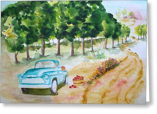 Apple Harvest Fun Greeting Card by Sharon Mick