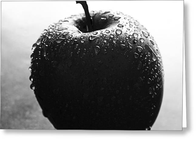 Apple In Black And White Greeting Card by Zoe Ferrie