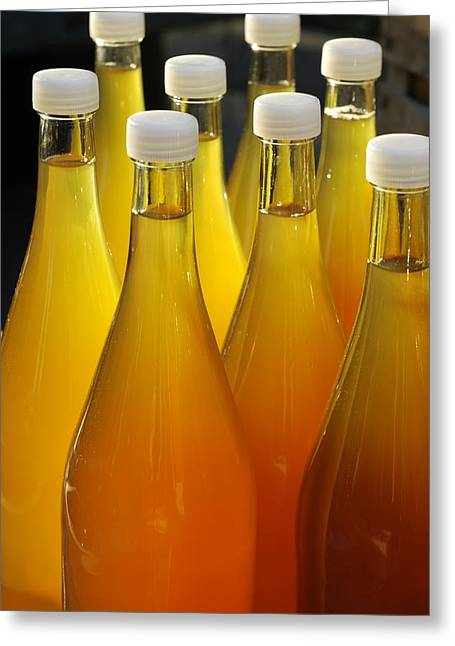 Apple Juice In Bottles Greeting Card by Matthias Hauser