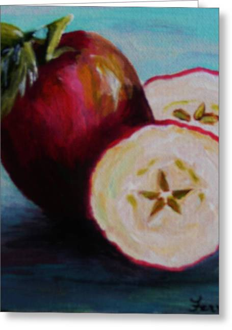 Greeting Card featuring the painting Apple Magic by Karen  Ferrand Carroll