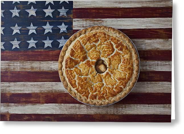 Apple Pie On Folk Art  American Flag Greeting Card by Garry Gay