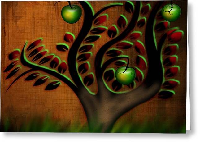 Greeting Card featuring the digital art Apple Tree by Katy Breen