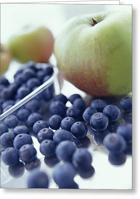 Apples And Blueberries Greeting Card