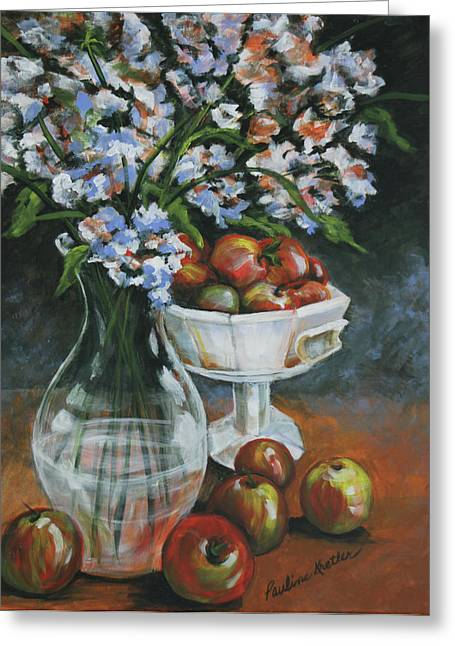 Apples And Flowers Greeting Card