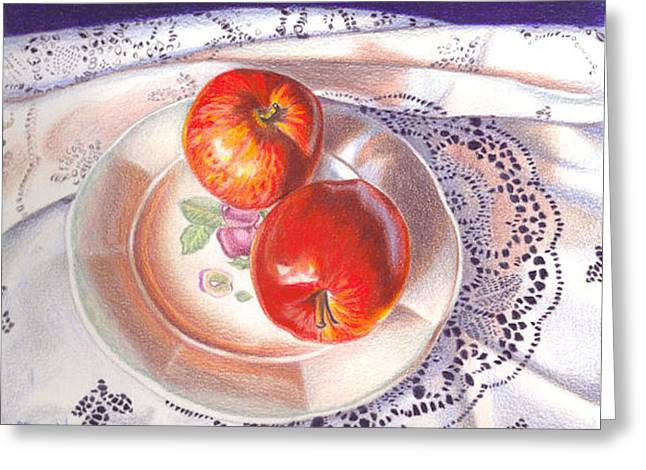 Apples And Lace Greeting Card by Lidia Penczar