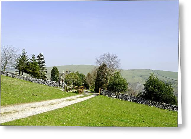 Approach To Air Cottage Near Ilam Greeting Card