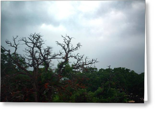 Greeting Card featuring the photograph Approaching Storm Viewed Through My Rain Streaked Window by Lon Casler Bixby