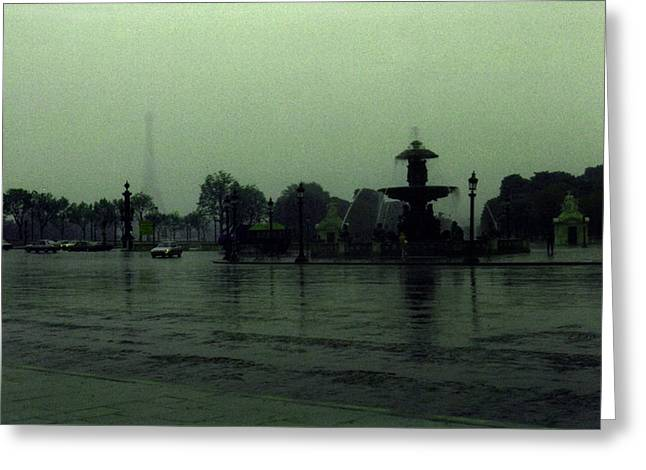 Greeting Card featuring the photograph April Fog With Water Fountain by Louis Nugent
