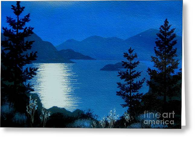 April  Full  Moon - - Fine Art Impressionist Serenity Landscape Greeting Card