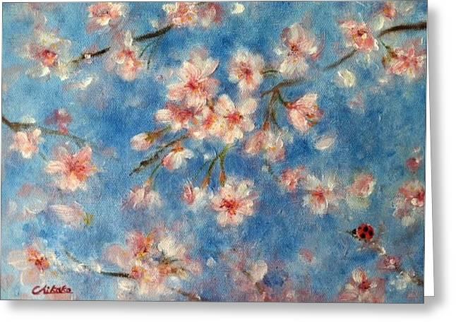 April Sky Greeting Card by Chikako Takizawa