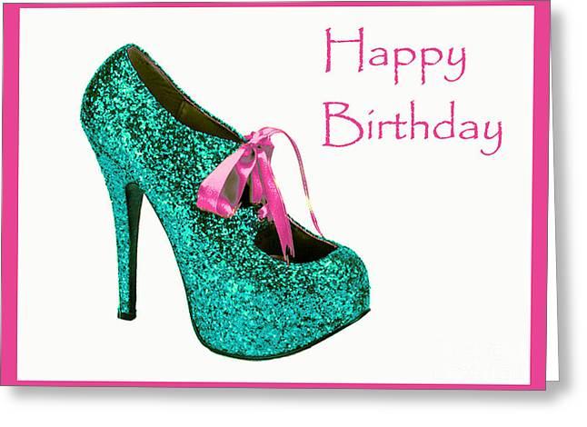 Aqua Glitter Birthday Shoe Greeting Card by Maralaina Holliday