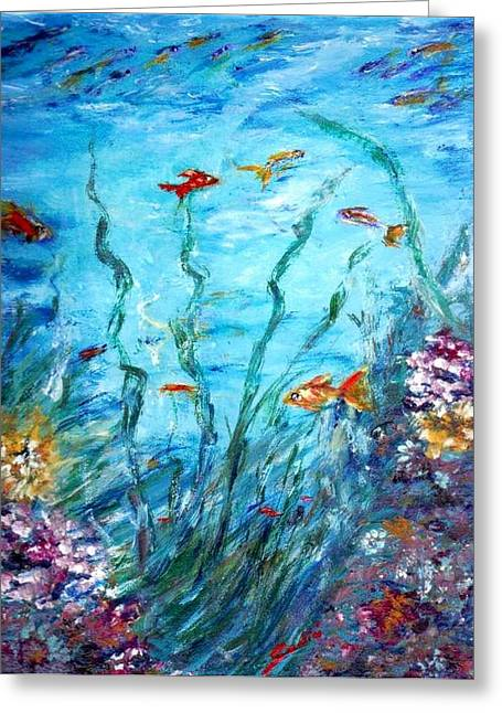 Aqua  Greeting Card by Mary Sedici