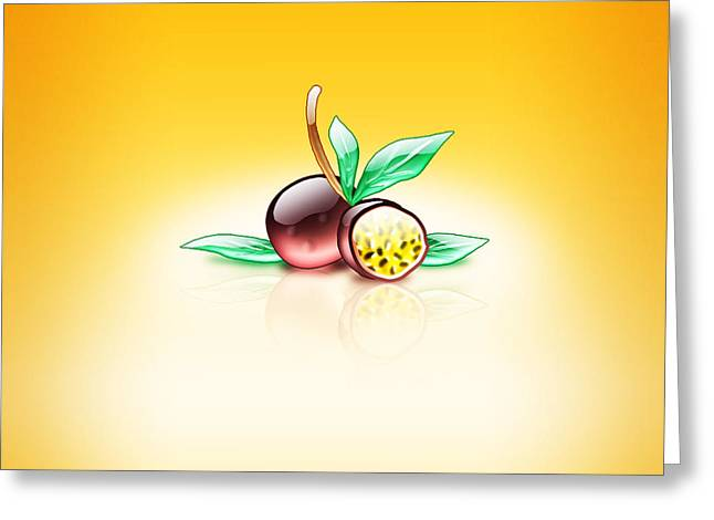 Aqua Passion Fruit  Greeting Card by Mohamed Riyah
