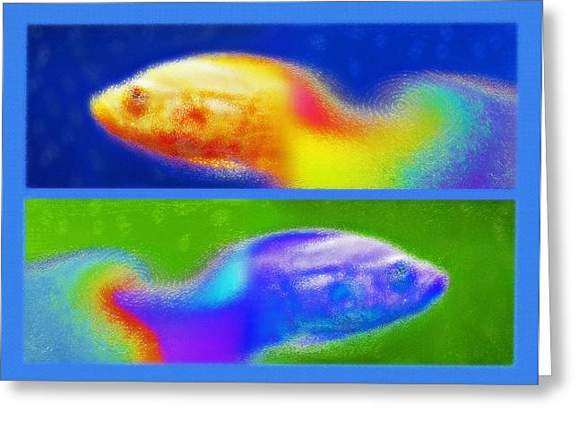 Aquarium Art Diptych 2 Greeting Card by Steve Ohlsen