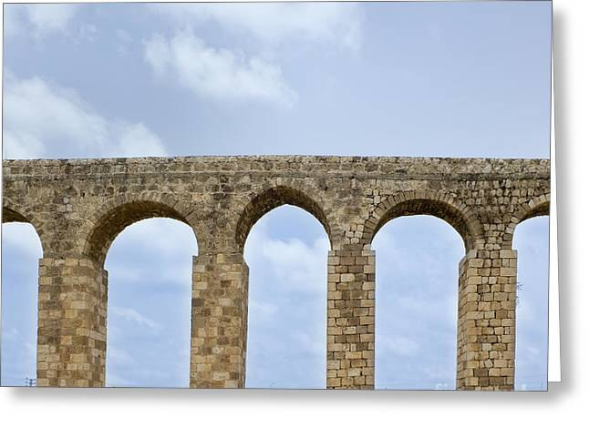 Aqueduct Of Acre Greeting Card by Noam Armonn