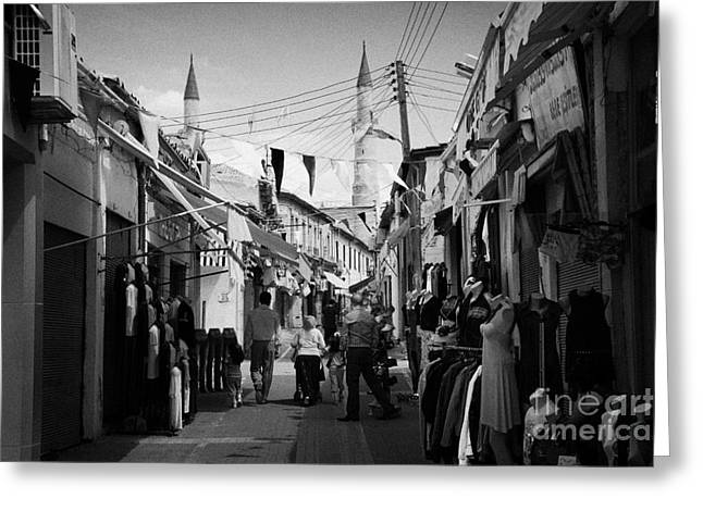 arasta street shopping area leading from border checkpoint to the selimiye mosque in nicosia TRNC Greeting Card by Joe Fox