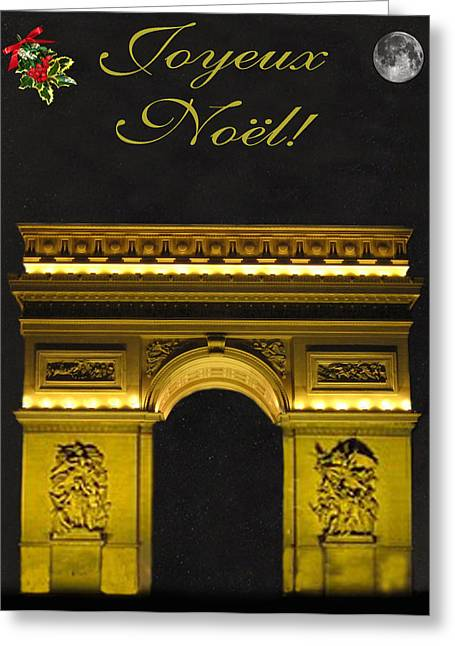 Arc De Triomphe Paris Christmas Greeting Card by Eric Kempson