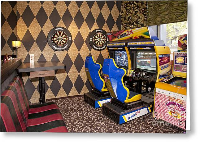 Arcade Game Machines At A Diner Greeting Card
