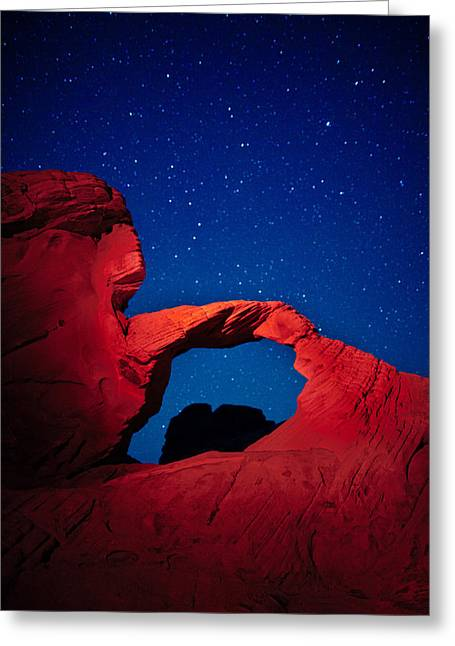 Arch In Red And Blue Greeting Card by Rick Berk