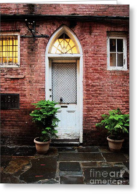 Arched Doorway French Quarter New Orleans Film Grain Digital Art Greeting Card