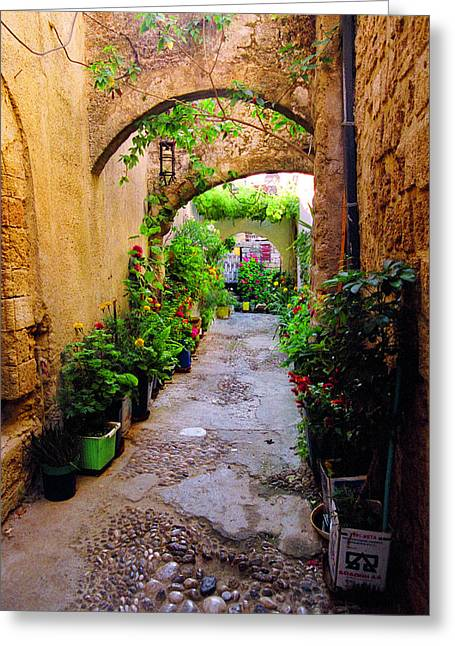 Arched Passageway-rodos Greeting Card by John Galbo