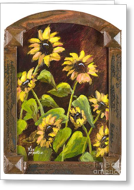 Arched Sunflowers With Gold Leaf By Vic Mastis Greeting Card by Vic  Mastis