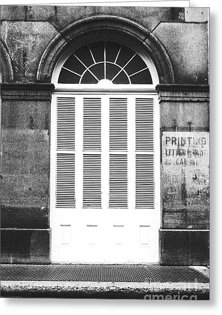 Arched White Shuttered Window French Quarter New Orleans Black And White Film Grain Digital Art  Greeting Card