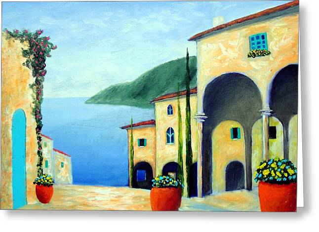 Greeting Card featuring the painting Arches On The Riviera by Larry Cirigliano