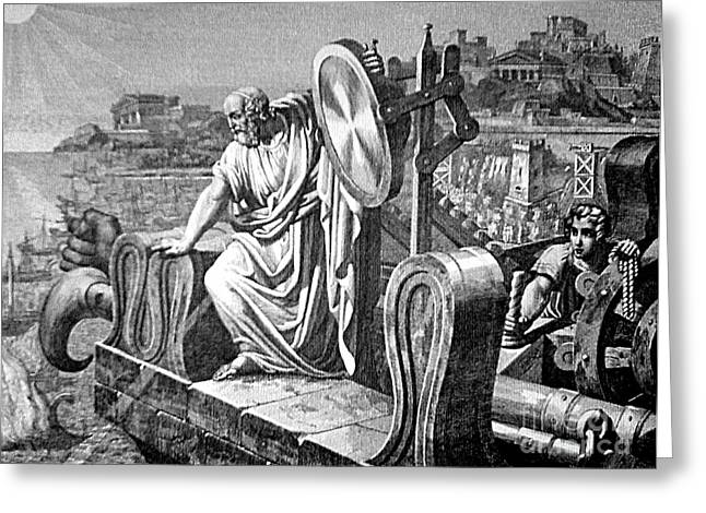 Archimedes Heat Ray, Siege Of Syracuse Greeting Card by Science Source
