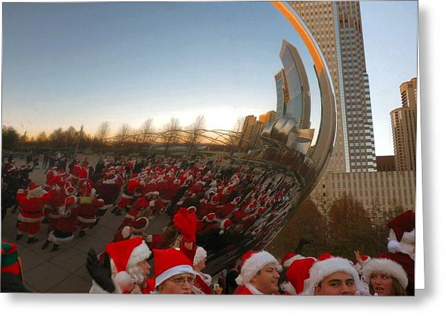 Architecture Chicago Cloud Gate With Santas Greeting Card