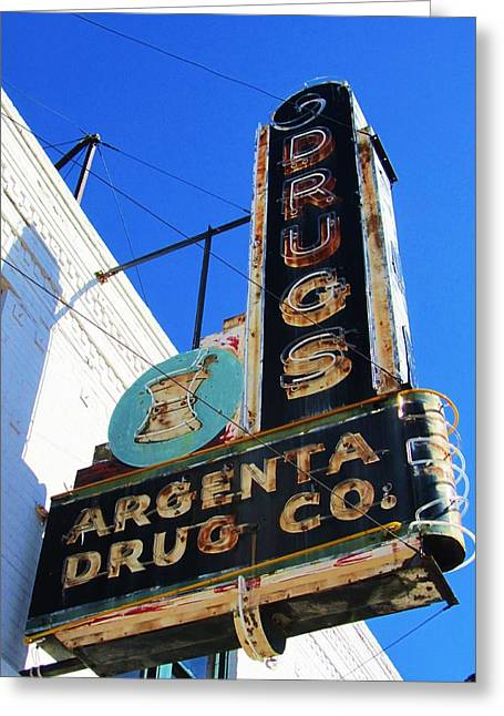 Argenta Drug Co. Greeting Card by Todd Sherlock
