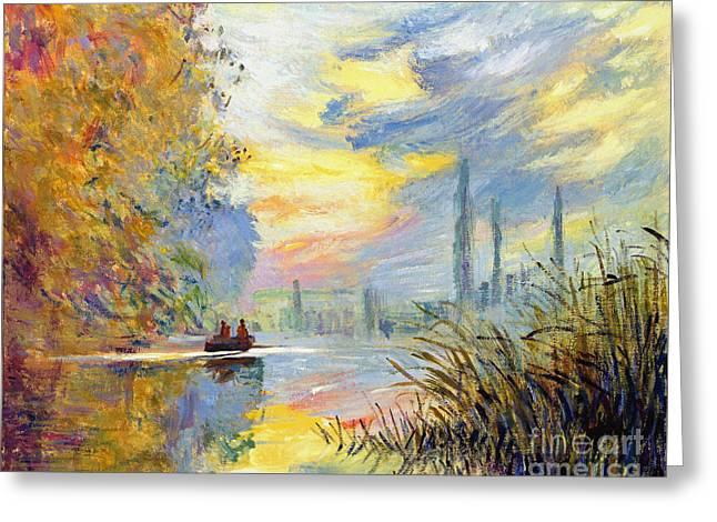 Argenteuil Evening - Sur Les Traces De Monet Greeting Card