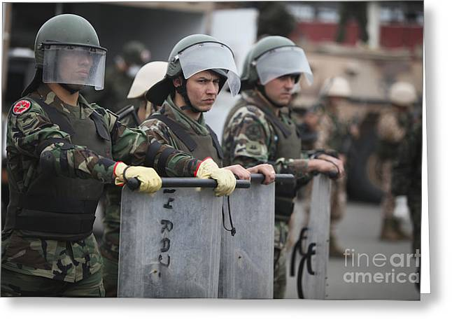 Argentine Marines Dressed In Riot Gear Greeting Card